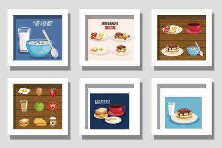 bundle of breakfast menu and icons vector illustration design Banco de Imagens - 135562290