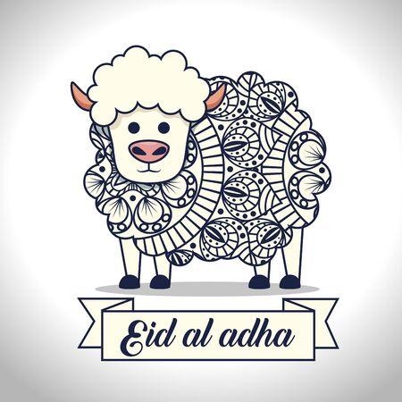 sheep animal sacrifice traditional celebration to eid al adha, vector illustration