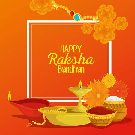 poster of hindu event with flowers and candles with food to raksha bandhan, vector illustration Ilustrace