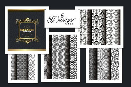 five designs of victorian frames and patterns geometric vector illustration design 일러스트