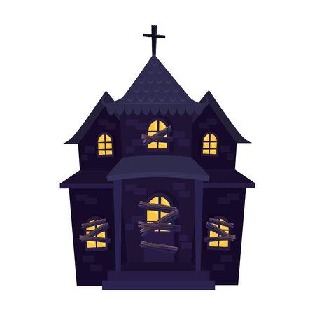 haunted house halloween isolated icon vector illustration design