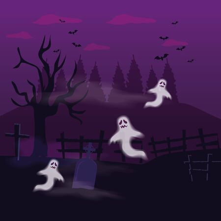 ghosts mysteries with tomb in scene halloween vector illustration design