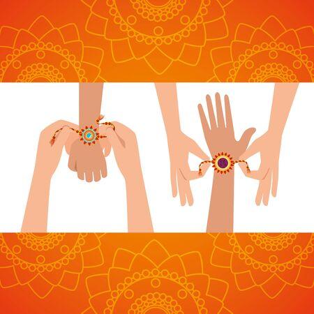hands with flowers bracelet hindu decoration to raksha bandhan, vector illustration  イラスト・ベクター素材
