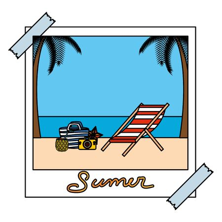 photo snapshot with summer beach and chair set icons vector illustration design  イラスト・ベクター素材