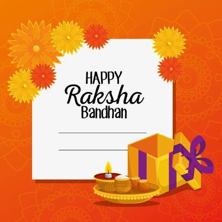 card of hindu event with flowers and present with candles to raksha bandhan, vector illustration  イラスト・ベクター素材