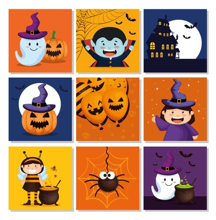 set cards with icons halloween vector illustration design Ilustración de vector