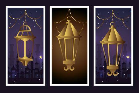 set lanterns hanging of ramadan kareem vector illustration design Vector Illustratie