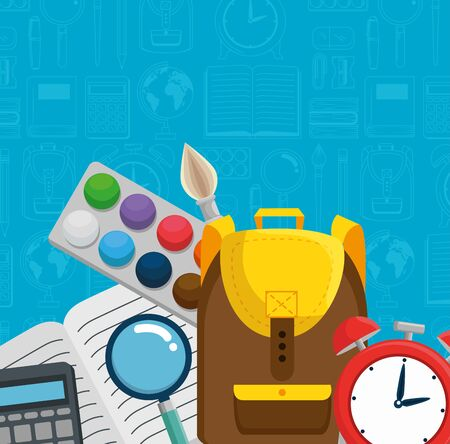 backpack with clock alarm and watercolor with notebook to back to school vector illustration Ilustração