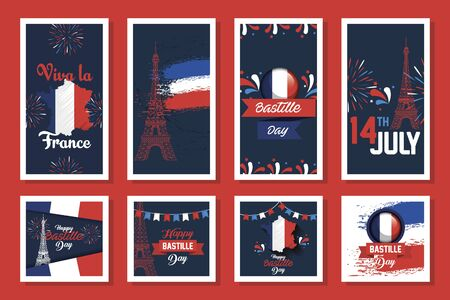 bundle of happy bastille day and icons vector illustration design Vectores