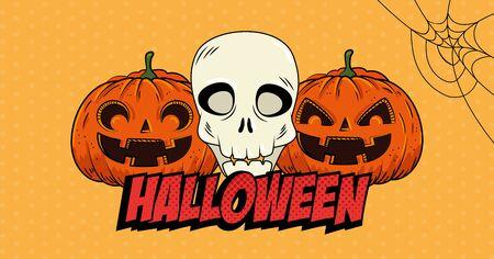 halloween pumpkins with skull pop art style vector illustration design