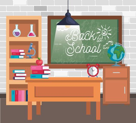 blackboard with books and erlenmeyer flask in the classroom to back to school vector illustration