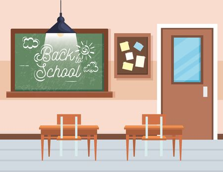 blackboard with note board and desks in the classroom education to back to school vector illustration