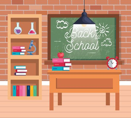 blackboard and bookcase with erlenmeyer flask and books with microscope to back to school vector illustration