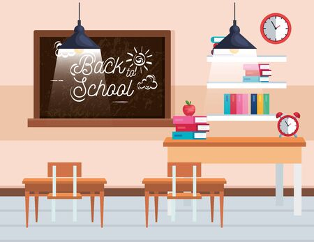 classroom with blackboard and book with apple and desk to back to school vector illustration