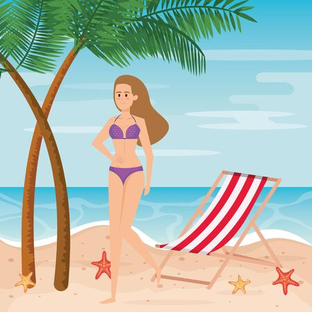 woman wearing swimsuit with tanning chair and palms trees to summer time vector illustration Vectores