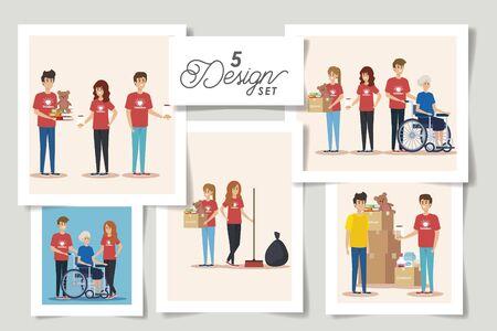 ensemble de cinq conceptions conception d'illustration vectorielle de don de charité