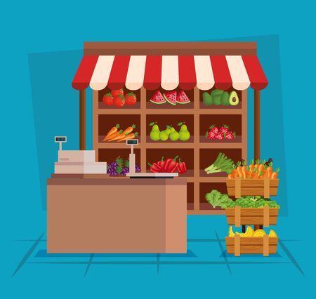 healthy fruits and fresh vegetables nutrition to natural store, vector illustration