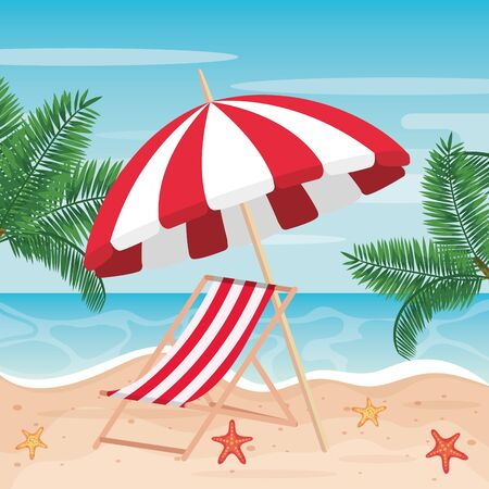 umbrella with tanning chair and palms trees in the beach to summer time vector illustration  イラスト・ベクター素材
