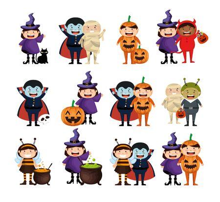 bundle halloween with costume children vector illustration design