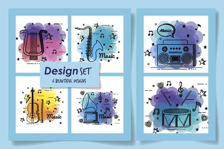set beautiful designs of music instruments and icons vector illustration design