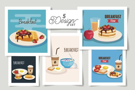 set five designs of breakfast menu vector illustration design Ilustração