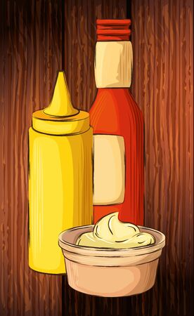 set of delicious sauces in wooden background vector illustration design