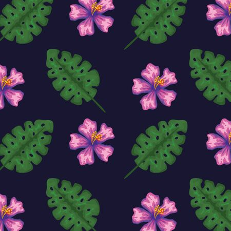 exotic flowers with tropical leaves background to summer banner vector illustration 向量圖像