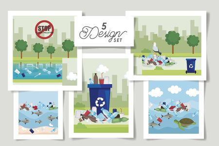 set of five designs labels of say no to plastic bag and icons vector illustration design