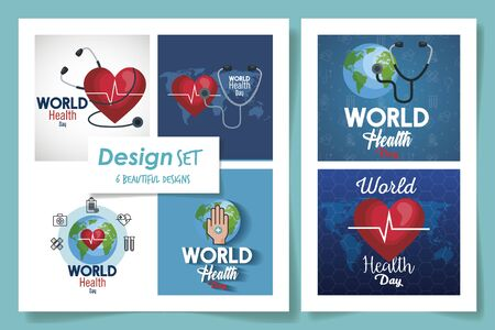 set six designs of world health day vector illustration design Stock Vector - 135584640
