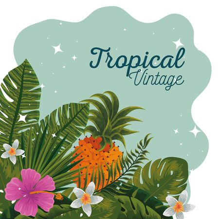tropical pineapples with flowers plants and leaves vector illustration