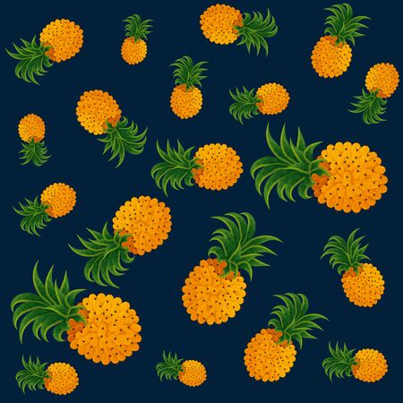 exotic pineapples fruits pattern vector illustration design 向量圖像
