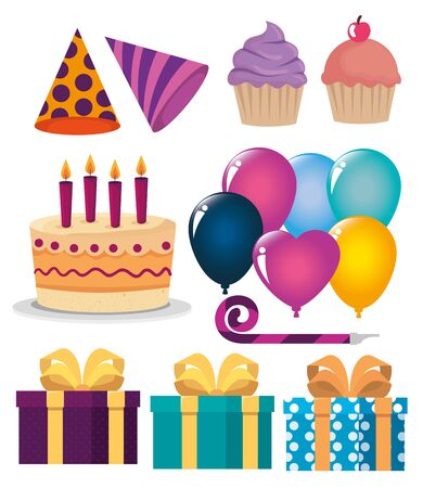 set of happy birthday decoration to party celebration over white background, vector illustration