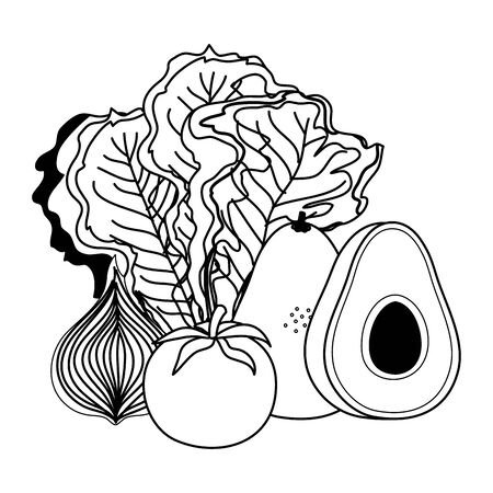 fresh vegetables nature icons vector illustration design  イラスト・ベクター素材
