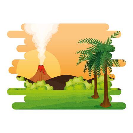 jurassic landscape with smoking volcano scene vector illustration design