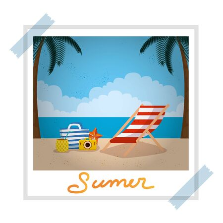 photo snapshot with summer beach and chair set icons vector illustration design 일러스트