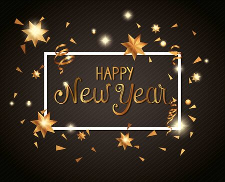 poster of happy new year in frame vector illustration design