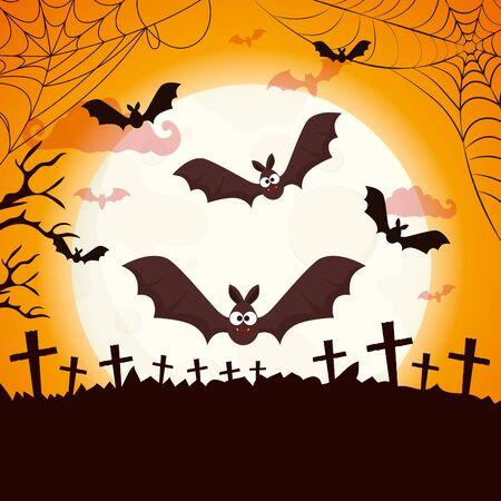 bat flying halloween isolated icon vector illustration design
