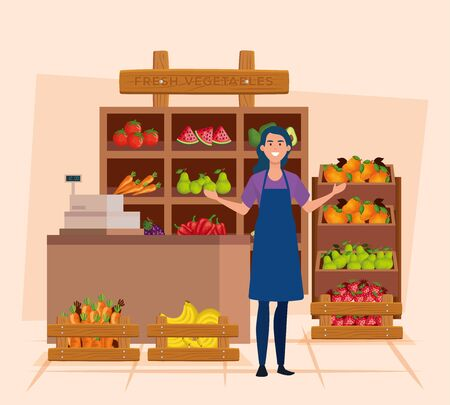 saleswoman with apron and fresh vegetables and fruits over pink background, vector illustration
