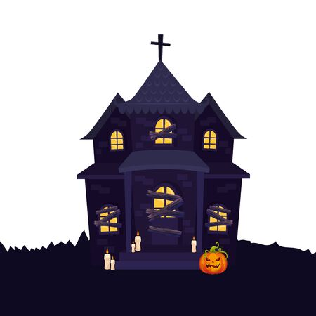 haunted house halloween with pumpkin and candles vector illustration design
