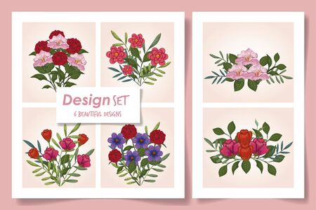 set of six designs with cute flowers vector illustration design