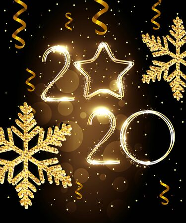 poster of happy new year 2020 with snowflakes vector illustration design