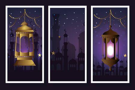set lanterns hanging of ramadan kareem vector illustration design