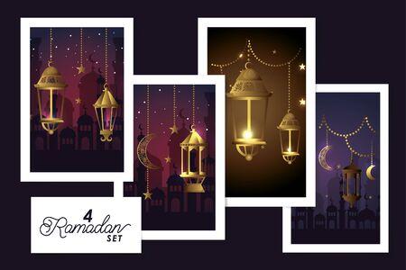 set four designs lanterns hanging and decoration of ramadan kareem vector illustration design