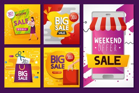 commercial set labels with offer and icons vector illustration design Illustration