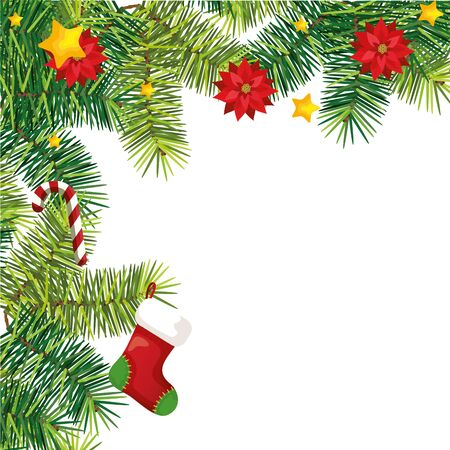 sock with sweet cane and flowers in decoration christmas vector illustration design