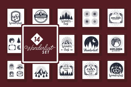 set of fourteen designs scenes wanderlust and icons vector illustration design