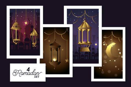 set four designs lanterns hanging and decoration of ramadan kareem vector illustration design Vector Illustratie