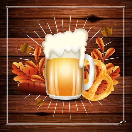 Oktoberfest beer design, Germany festival celebration europe landmark munich culture and party theme Vector illustration  イラスト・ベクター素材