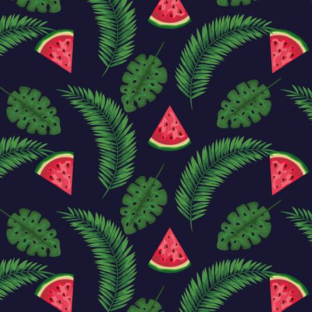 watermelon fruits with exotic leaves plants background to summer banner vector illustration 向量圖像
