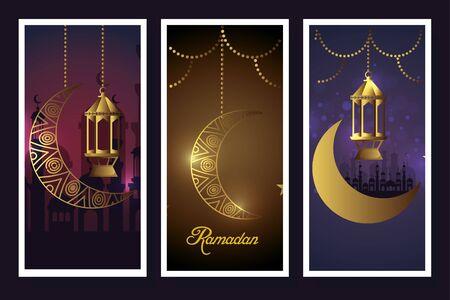set manen en lantaarns hangend van ramadan kareem vector illustratie ontwerp Vector Illustratie